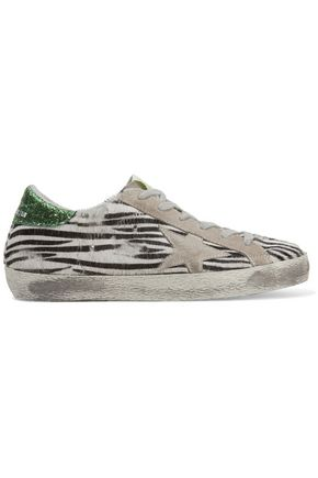 GOLDEN GOOSE DELUXE BRAND Super Star suede-trimmed zebra-print calf hair sneakers