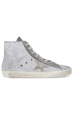 GOLDEN GOOSE DELUXE BRAND Francy distressed glittered suede high-top sneakers