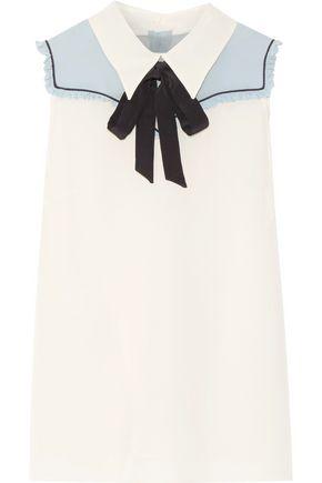 MIU MIU Pussy-bow chiffon-paneled silk crepe de chine top