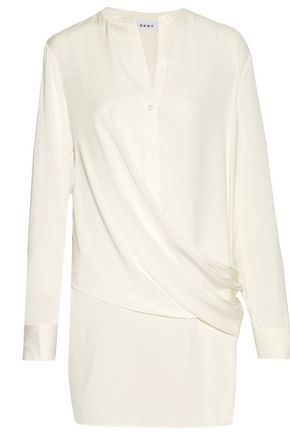 DKNY Draped stretch silk-satin-paneled satin-twill tunic