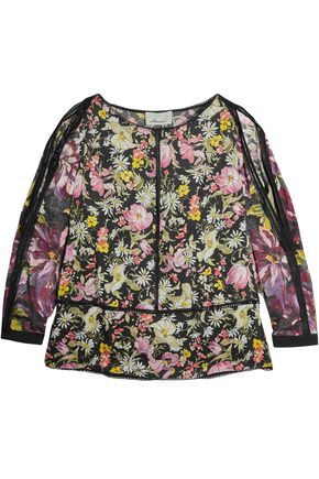 3.1 PHILLIP LIM Cold-shoulder lace-paneled floral-print silk-crepe blouse