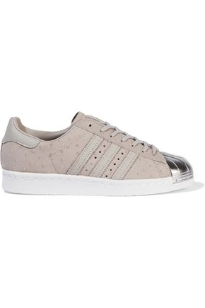 ADIDAS ORIGINALS Superstar metallic-trimmed ostrich-effect leather sneakers