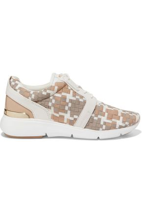 MICHAEL MICHAEL KORS Amanda leather-trimmed woven sneakers