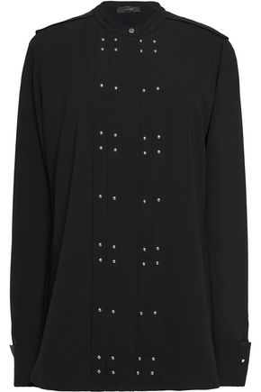 BELSTAFF Darcy studded silk-georgette blouse