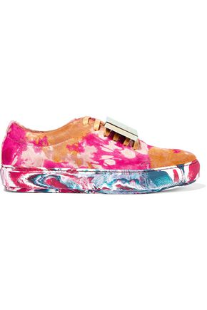 ACNE STUDIOS Adriana plaque-detailed printed calf hair sneakers