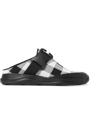 WOMAN LEATHER-TRIMMED BUCKLED CHECKED SLIP-ON SNEAKERS BLACK