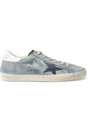 GOLDEN GOOSE DELUXE BRAND Superstar distressed leather-paneled suede sneakers