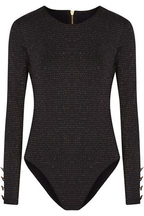 CUSHNIE ET OCHS Open-back metallic stretch-jersey bodysuit