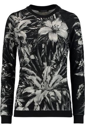 BALMAIN Printed cotton-blend velvet top