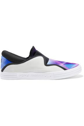 Y-3 + adidas Originals Sunja suede and printed neoprene slip-on sneakers