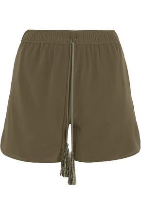 WOMAN PAXI SILK CREPE DE CHINE SHORTS ARMY GREEN