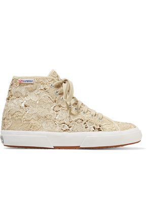 SUPERGA® Macramé lace high-top sneakers