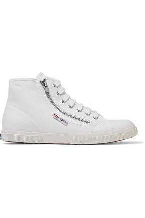 SUPERGA® Zipped canvas high-top sneakers