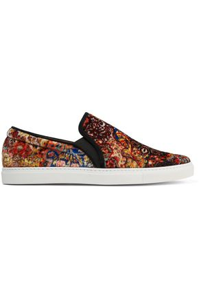TABITHA SIMMONS Huntington suede-trimmed printed velvet slip-on sneakers