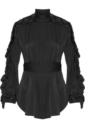 ELLERY Audacity ruffle-trimmed stretch-silk blouse