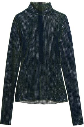 MM6 MAISON MARGIELA Velvet mesh turtleneck top
