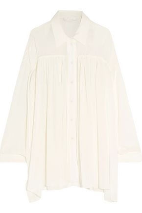 CHLOÉ Oversized pleated crepe shirt