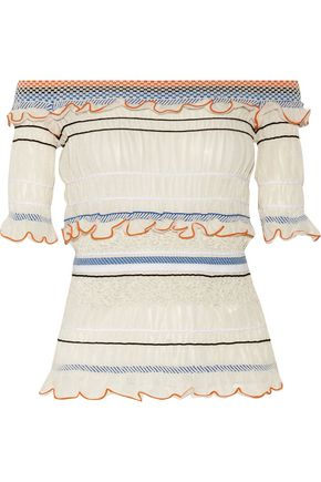 PETER PILOTTO Off-the-shoulder smocked ruffled cotton-blend top