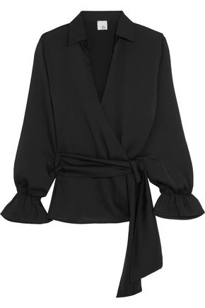 IRIS AND INK Candace crepe wrap top