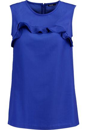 RAOUL Irina ruffle-trimmed satin-twill top