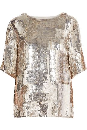 CHLOÉ Metallic sequined crepe top