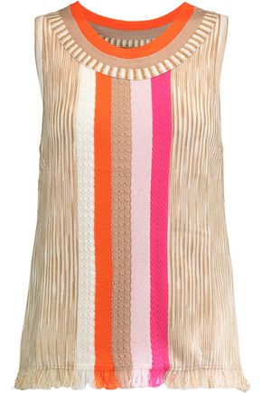 MISSONI Fringed crochet-knit wool-blend tank top