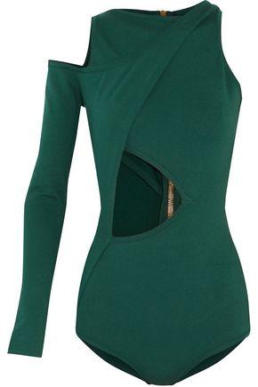 BALMAIN Cold-shoulder cutout stretch-jersey bodysuit