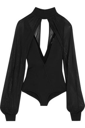 BALMAIN Layered paneled stretch-knit bodysuit