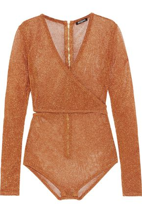 BALMAIN Cutout wrap-effect metallic stretch-knit bodysuit