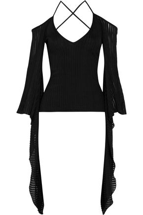 BALMAIN Cold-shoulder ribbed stretch-knit top