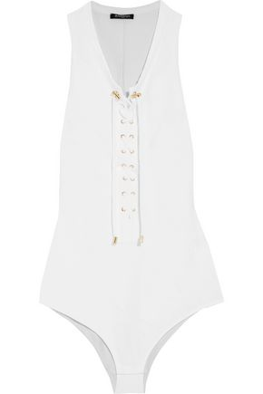 BALMAIN Lace-up stretch-cotton jersey bodysuit