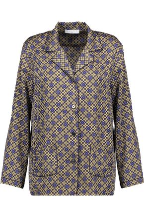 SANDRO Stone printed satin-twill shirt