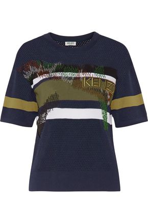 KENZO Bead-embellished paneled mesh and stretch-jersey top