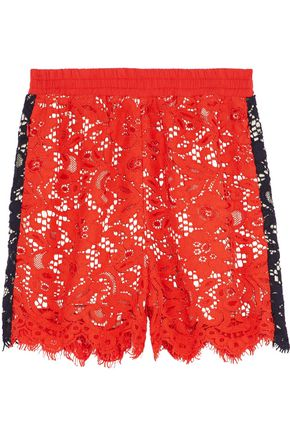 GOEN.J Two-tone corded lace shorts