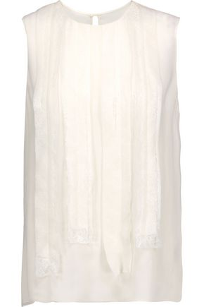 JASON WU Pintucked lace-trimmed silk-chiffon top