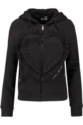 LOVE MOSCHINO Ruffled cotton-blend jersey hooded sweatshirt