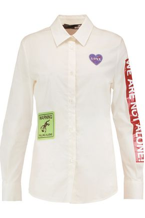 LOVE MOSCHINO Appliqued cotton-blend crepe shirt