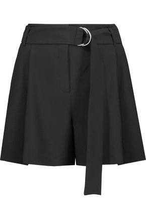 MICHAEL KORS COLLECTION Belted pleated wool-crepe shorts