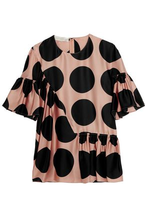 STELLA McCARTNEY Ruched polka-dot silk top