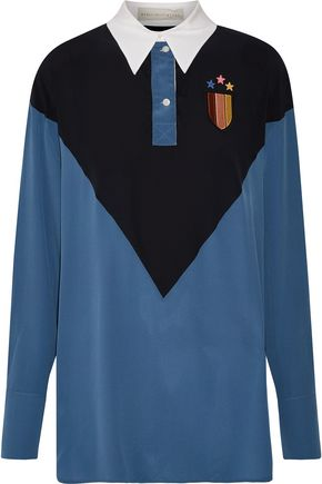 STELLA McCARTNEY Ornella embroidered appliquéd silk crepe de chine shirt