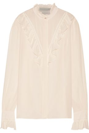 STELLA McCARTNEY Clara crochet-trimmed ruffled silk crepe de chine shirt