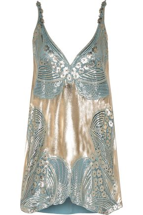 STELLA McCARTNEY Allison metallic coated guipure lace and crepe de chine top