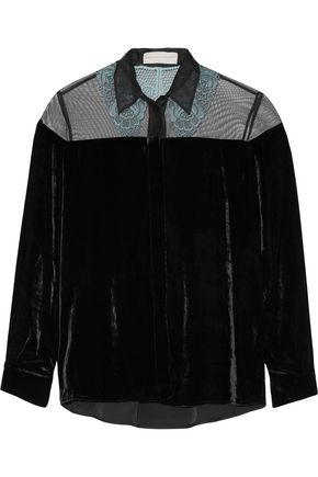 STELLA McCARTNEY Carolina appliquéd velvet shirt