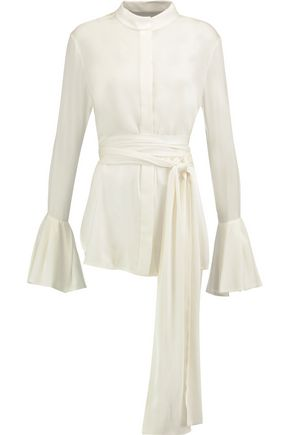 ELLERY Lucky belted stretch silk-blend crepe de chine blouse
