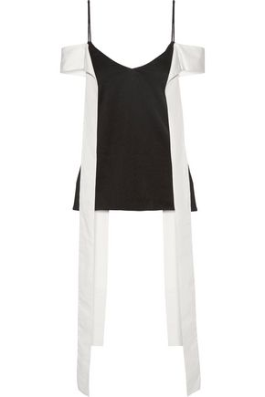 ELLERY Teenage Doll draped poplin-trimmed satin-crepe camisole