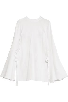ELLERY Teddy Girl ribbed tied jersey top