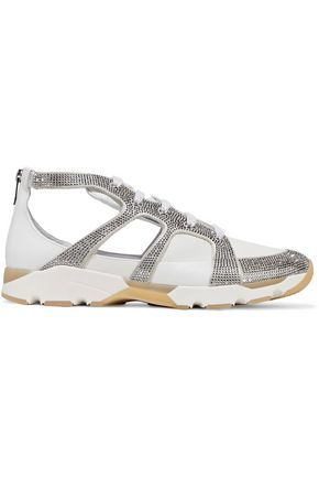 RENE' CAOVILLA Crystal-embellished snake and leather sneakers
