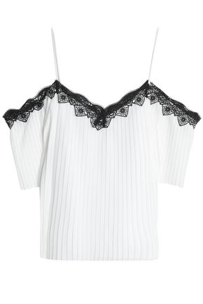 ALICE + OLIVIA Cold-shoulder lace-trimmed pleated crepe de chine top