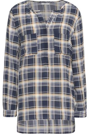 JOIE Nepal checked washed-silk blouse