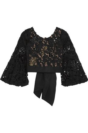 JOHANNA ORTIZ Cropped embellished guipure lace top